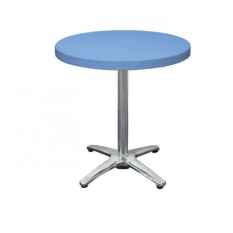 Blue Plastic Stainless Steel Leg Cafe Table - pl14