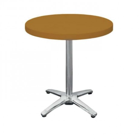 Yellow Plastic Round Cafe Table - pl13