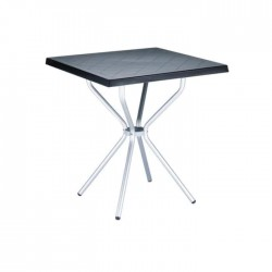 Plastic Garden Table with Black Colored Aluminum Legs