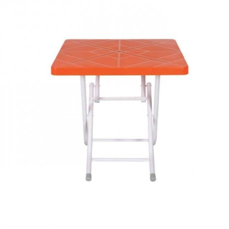 Orange Colored Square Table Top Folding Leg Plastic - pl6567