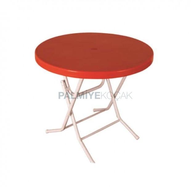 Round Plastic Table with Orange Folding Leg