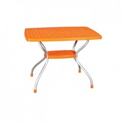 Orange Table Top Plastic Table with Aluminum Legs