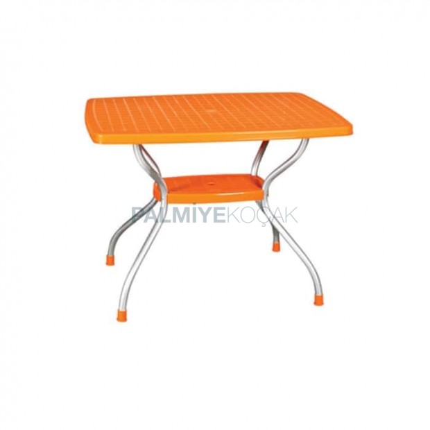 Turuncu Tablalı Alüminyum Ayaklı Plastik Masa
