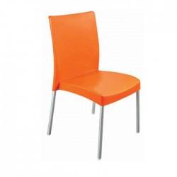 Aluminum Leg Orange Cafe Plastic Chair