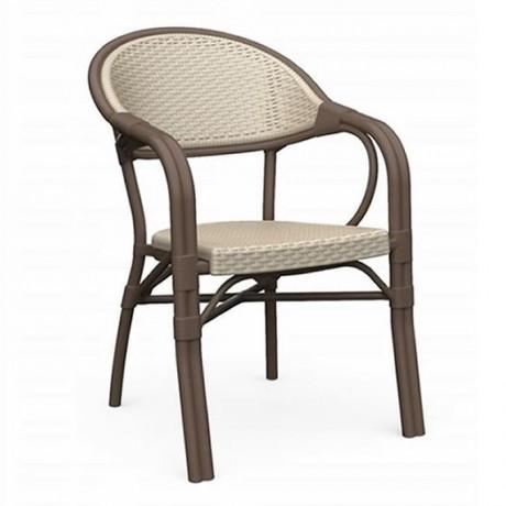 Bambu Rattan Örme Görünümlü Kollu Sandalye - tpk9890