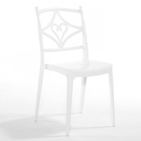 Beyaz Krem Motifli Plastik Organizasyon Düğün Salonu Sandalyesi - pls178