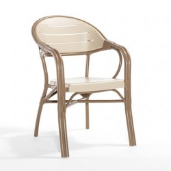 Bamboo Look Plastic Chair with Pipe Frame