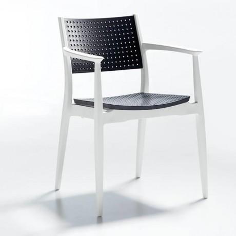 Delikli Sırt ve Oturum Yüzeyli Siyah Beyaz Plastik Sandalye - pk98101b