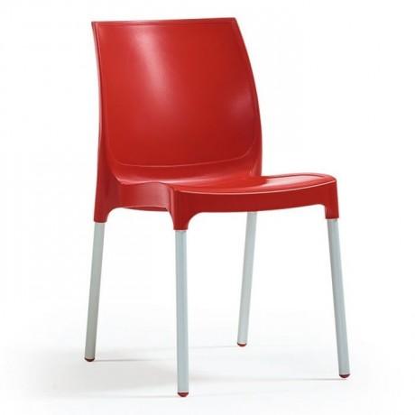 Eloksallı Alüminyum Ayaklı Cam Elyaflı Kırmızı Plastik Sandalye - pls55