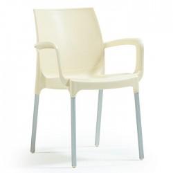Anodized Aluminum Leg Glass FiberCream Plastic Chair