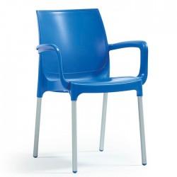 Anodized Aluminum Leg Glass Fiber Blue Plastic Chair