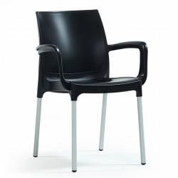Anodized Aluminum Leg Glass Fiber Black Plastic Chair