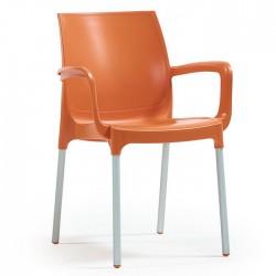 Anodized Aluminum Leg Glass Fiber Orange Plastic Chair