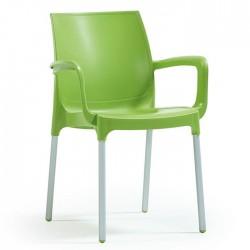 Anodized Aluminum Leg Glass Fiber Green Plastic Chair