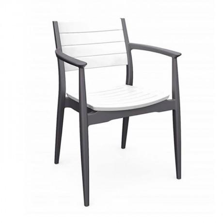 Gri Beyaz Kollu Sandalye Cafe Restaurant Otel Kollu Sandalye