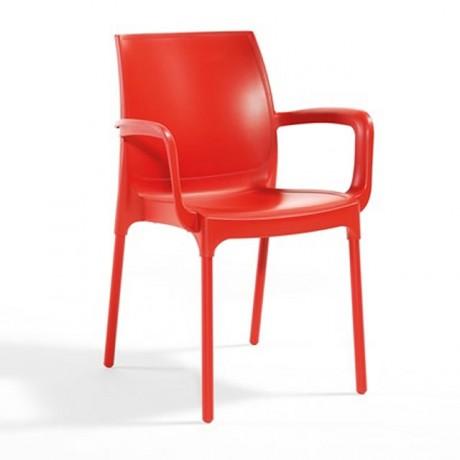 Kırmızı Kollu Plastik Sandalye