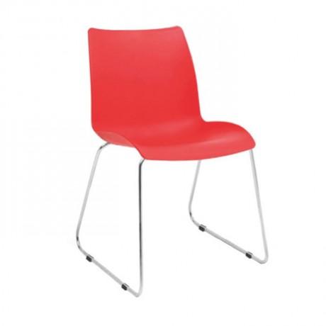 Kırmızı Krom Ayaklı Cafe Sandalyesi - pls49