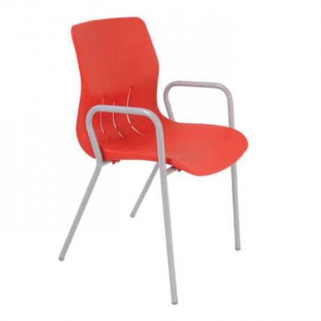 Cafe Garden Chair with Red Metal Arm - pls169