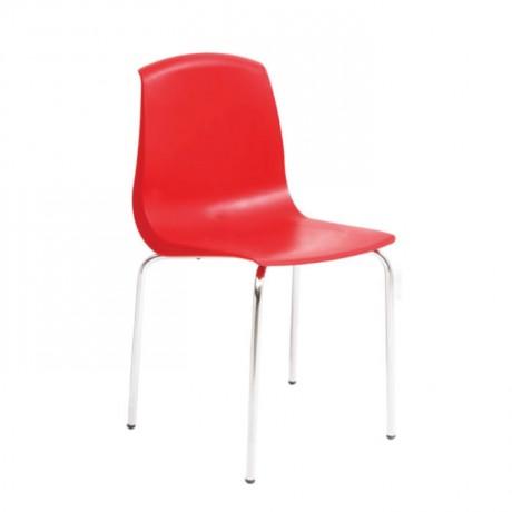 Kırmızı Plastik Krom Ayak Cafe Sandalyesi - pls51