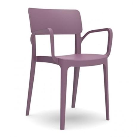 Mor Eflatun Kollu Plastik Sandalye - pls172b