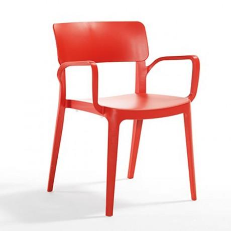 Parça Sırtlı Kırmızı Kollu Plastik Sandalye