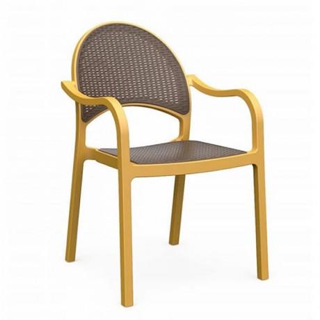 Plastik Gold Renkli Antrasit Oturma Sırtı Plastikli Kollu Sandalye - tpk98100
