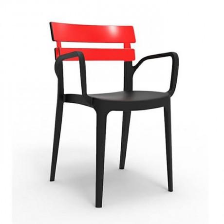Siyah Kırmızı Kollu Plastik Cafe Sandalye - pls171