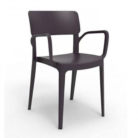 Siyah Kollu Cafe Plastik Sandalyesi Avm Yemek Alanı Plastik Sandalyesi - pls172