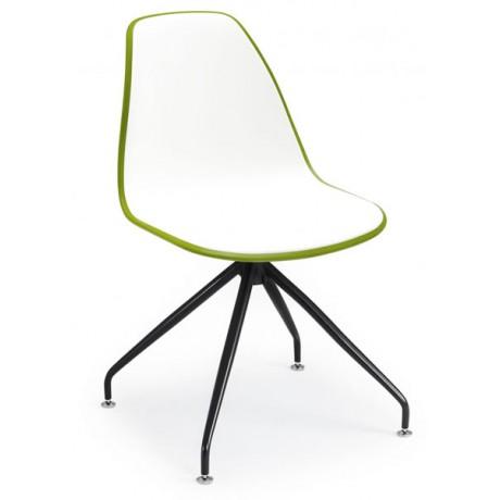 Siyah Metal Ayaklı Çift Renk Beyaz Plastik Sandalye - pls100