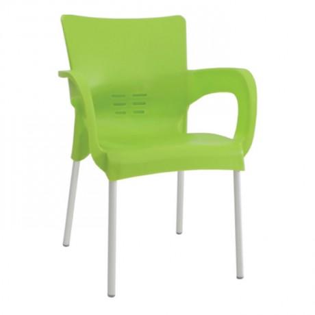 Yeşil Kollu Plastik Cafe Sandalyesi - pls48