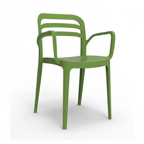 Yeşil Kollu Plastik Sandalye Otel Cafe Restoran Plastik Sandalye - pls173