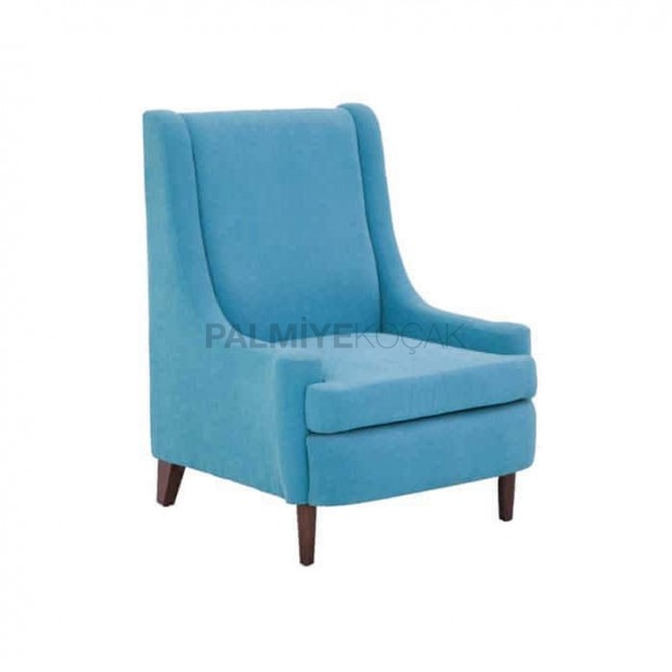 Light Blue Fabric Upholstery Polyurethane Bergere