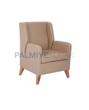Beige Leather Upholstery Polyurethane Bergere