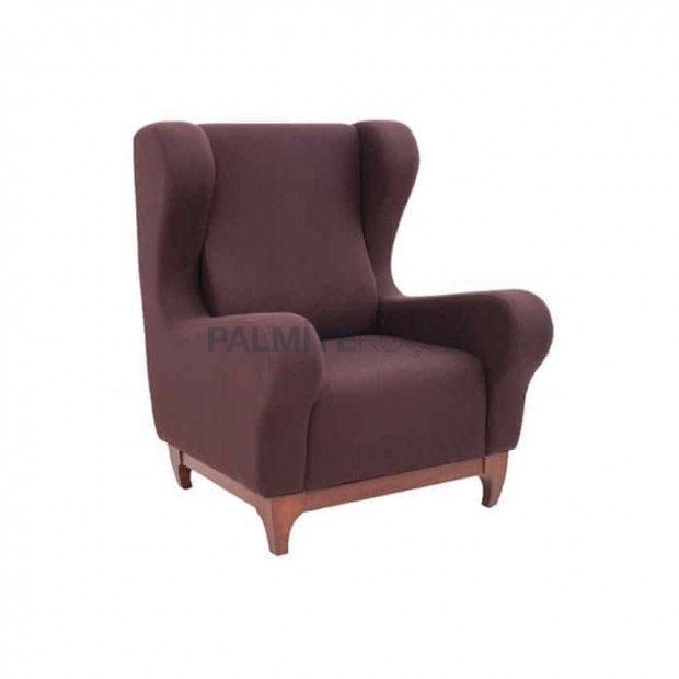 Brown Polyurethane Bergere with Wooden Legs Fabric