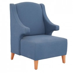 Blue Wooden Leg Polyurethane Bergere