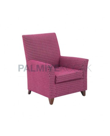 Pink Patterned Fabric Upholstery Polyurethane Hotel Bergere