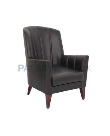 Black Leather Upholstery Wooden Leg Polyurethane Hotel Bergere