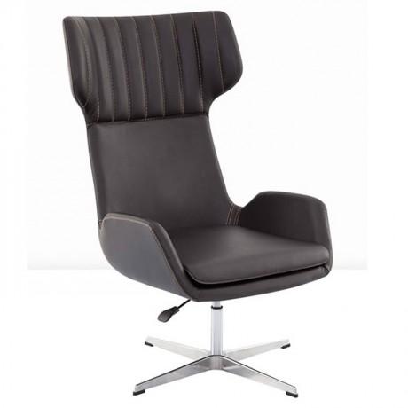 Black Leather Lobby Polyurethane Bergere - pbu7772