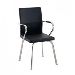 Black Leather Polyurethane Armchair