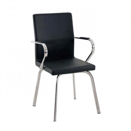 Poliüretan Metal Kollu Siyah Derili Sandalye - psd248
