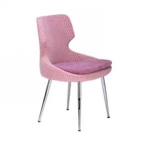 Poliüretan Pembe Kumaş Döşemeli Boru Ayaklı Sandalye - psd267
