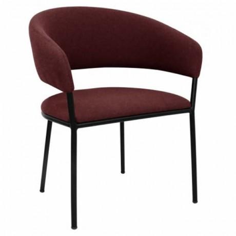 Bordo Modern Metal Ayaklı Geniş Sırtlı Sandalye