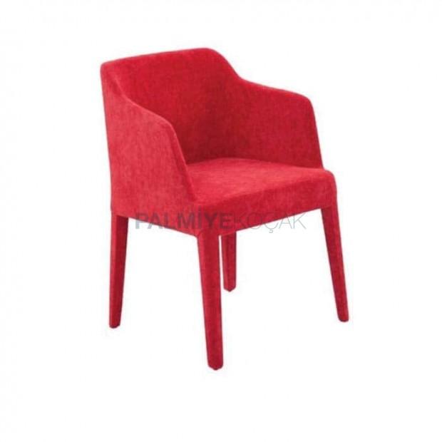Kırmızı Boyalı Kollu Poliuretan Kollu Cafe Sandalyesi
