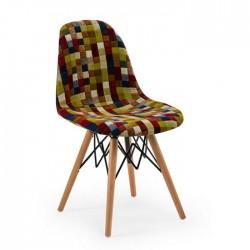Fabric Upholstered Beech Retro Leg Chair 1st Class