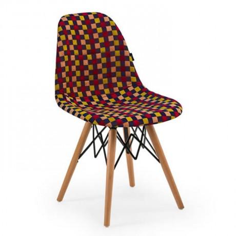 Kumaş Döşemeli Kayın Retro Ayaklı Sandalye İç Mekan - psa699f