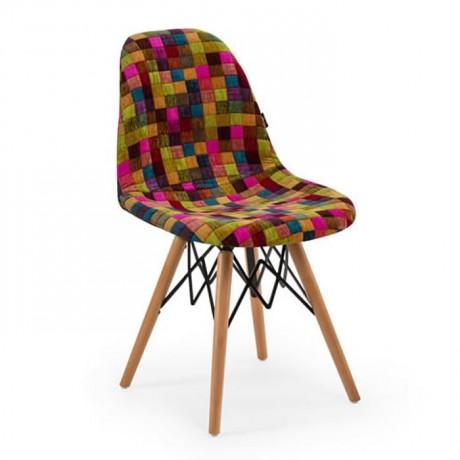 Kumaş Döşemeli Kayın Retro Ayaklı Sandalye Sağlam İskeletli - psa699g