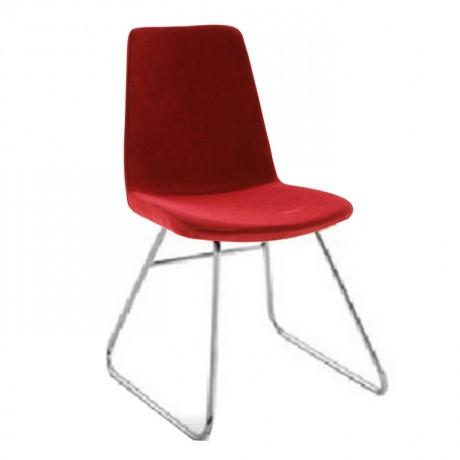 Metal Ayaklı Kırmızı Döşemeli Poliüretan Sandalye - msab260