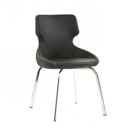 Poliüretan Siyah Derili Krom Ayaklı Sandalye - psd219