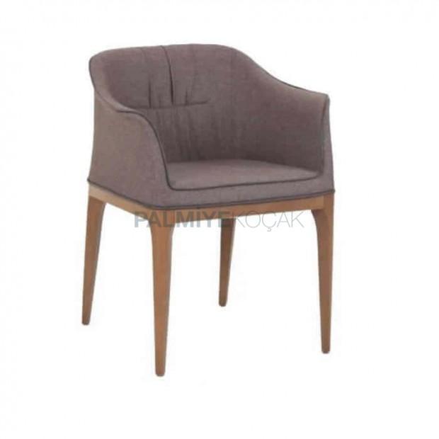 Poliüretan Süngerli Gri Kumaşlı Kollu Otel Sandalyesi