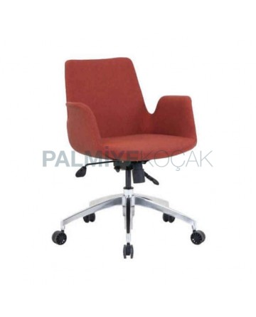 Polyurethane Wheeled Orange Fabric Metal Chair